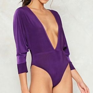 Purple Nastygal Low-V Bodysuit